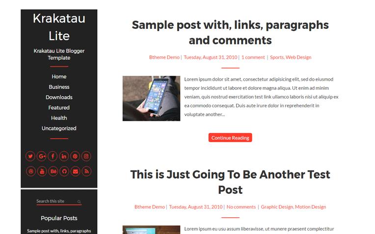 Krakatau Professional Responsive Blogger Template