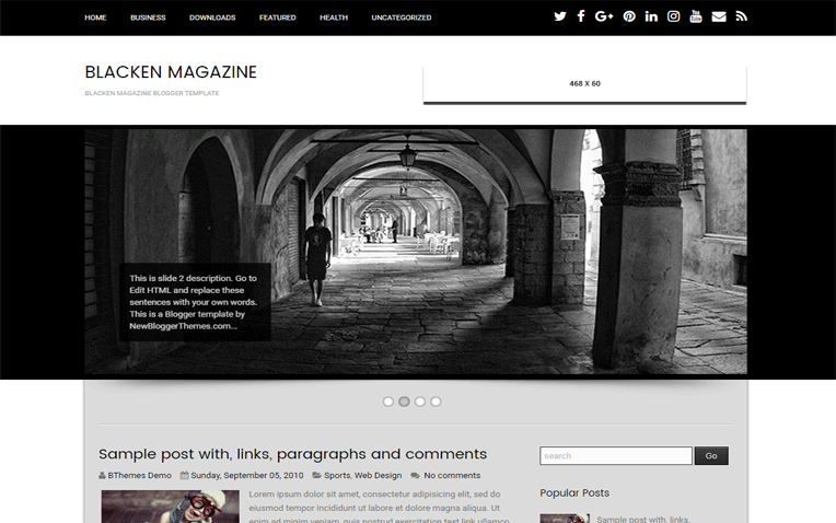 Blacken Magazine Minimal Clean Blogger Template