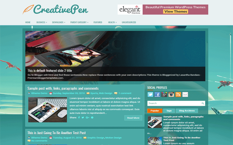 CreativePen Elegant Responsive Blogger Template