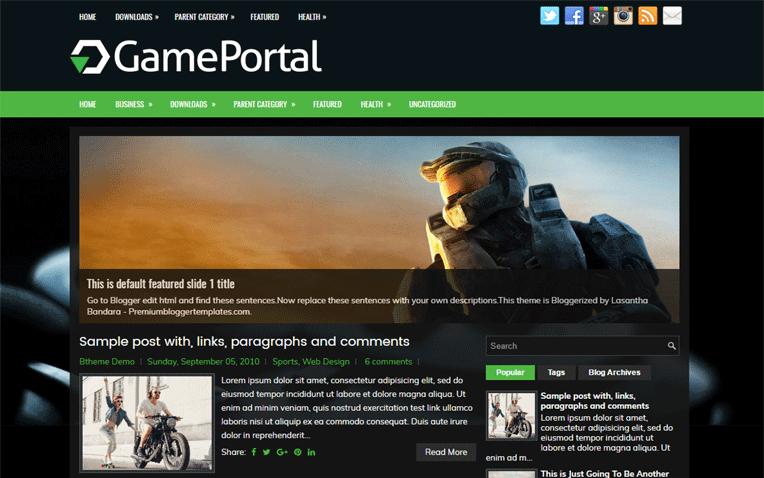 GamePortal Amazing Responsive Blogger Template