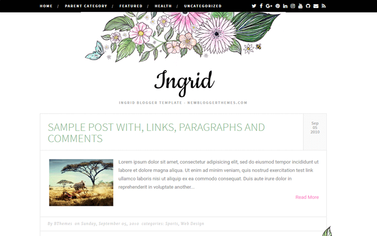 Ingrid Personal Fully Responsive Blogger Template
