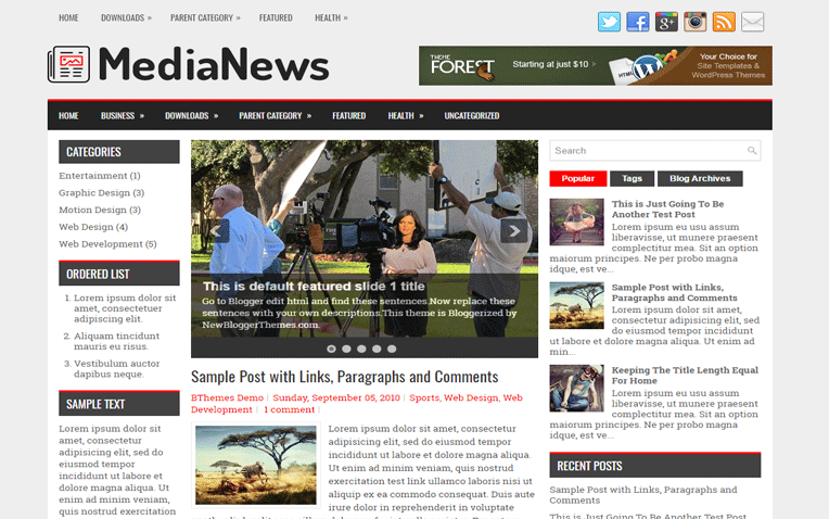 MediaNews Elegant Responsive Blogger Template