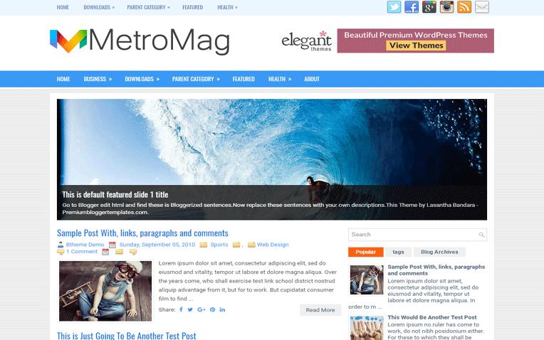 MetroMag Amazing Responsive Blogger Template