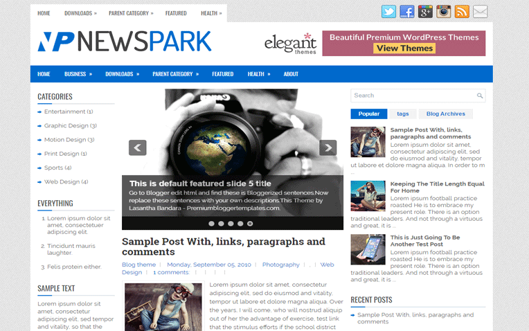 NewsPark Amazing Responsive Blogger Template