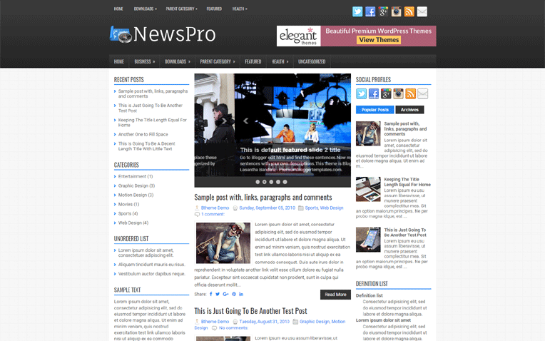 NewsPro Simple Clean Magazine Blogger Template