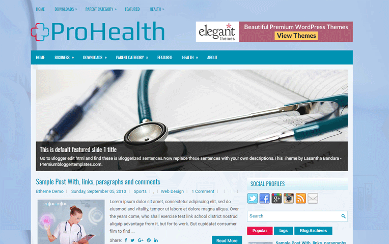 ProHealth Simple Friendly Responsive Blogger Template