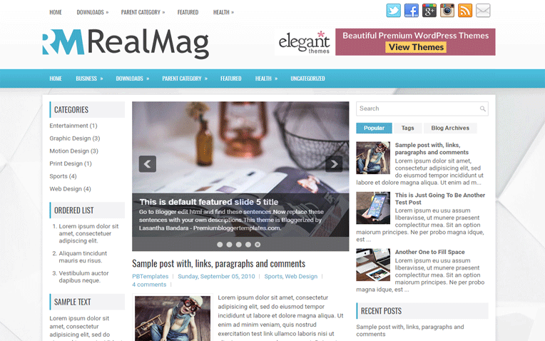 RealMag Personal Clean Magazine Blogger Template