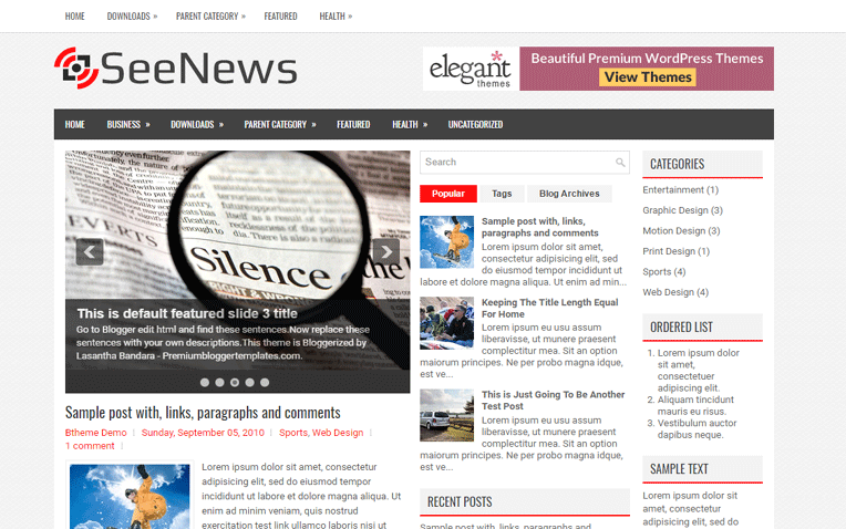 SeeNews Free Blogger Template