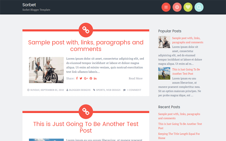Sorbet Professional Responsive Blogger Template