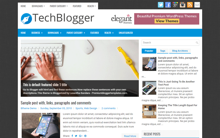 TechBlogger Premium Magazine Blogger Template