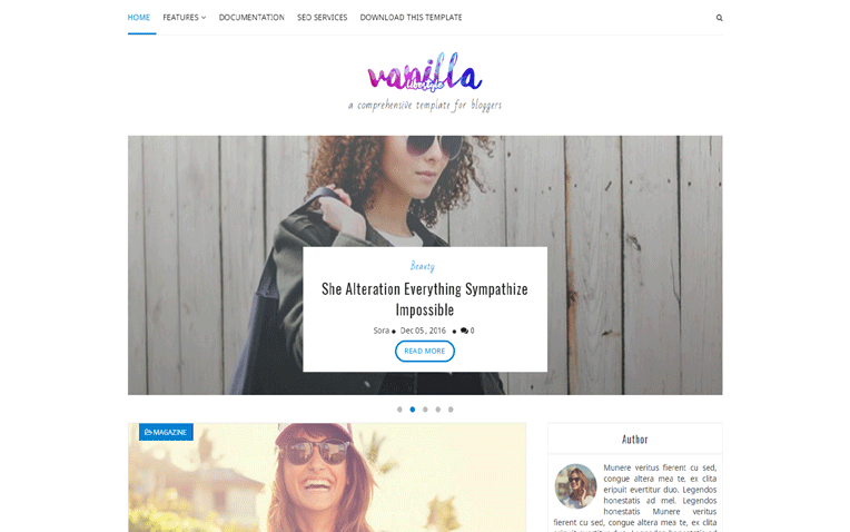 Vanilla Lifestyle Portfolio Simple Blogger Template