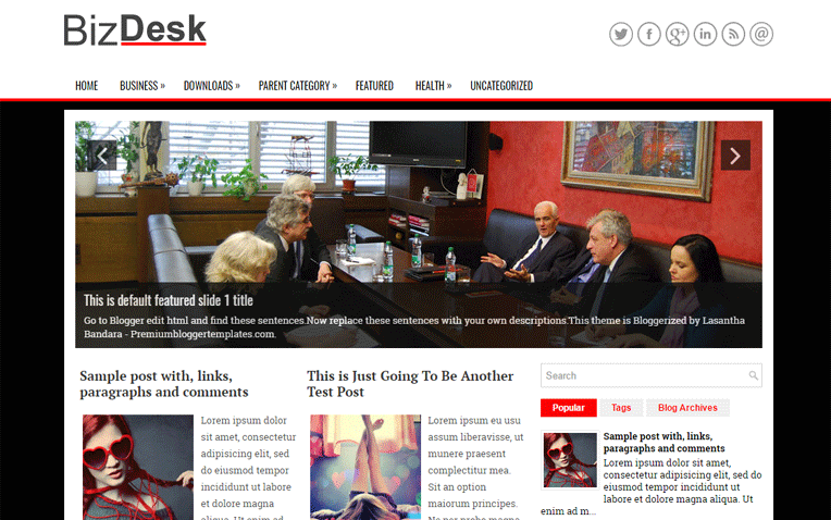 BizDesk Amazing Clean Responsive Blogger Template