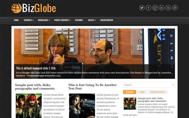 BizGlobe Professional Responsive Blogger Template