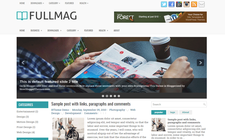 FullMag Mobile Friendly Responsive Blogger Template