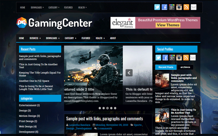 GamingCenter Clean Responsive Blogger Template