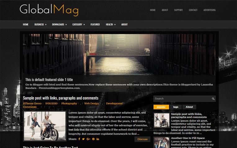 GlobalMag Magazine Responsive Blogger Template