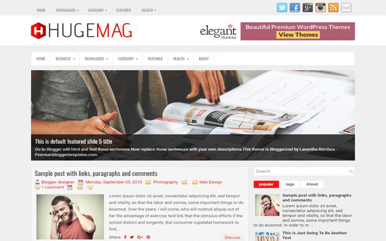 HugeMag Magazine Responsive Blogger Template