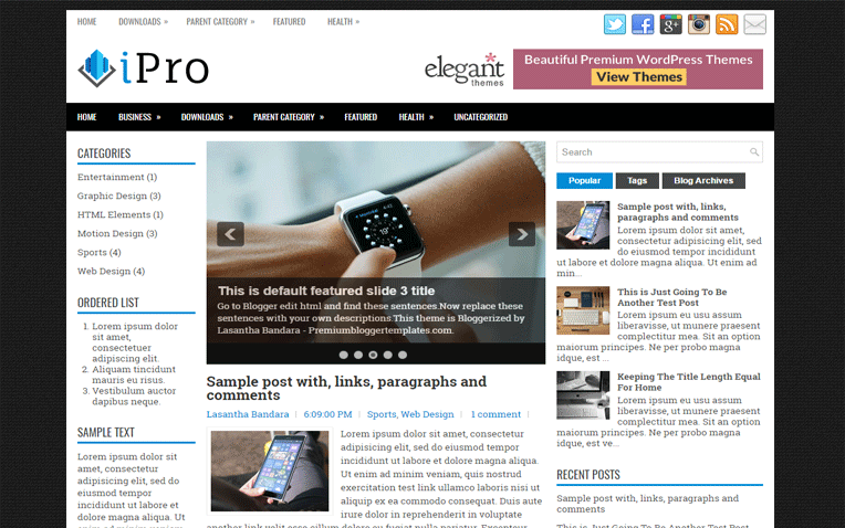 iPro Magazine Clean Responsive Blogger Template