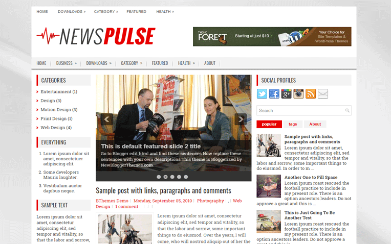 NewsPulse Entertainment Personal Blogger Template