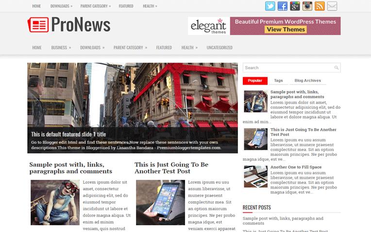 ProNews Professional Magazine Blogger Template