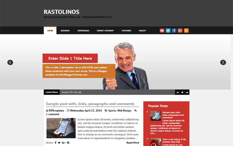 Rastolinos Beautiful Responsive Blogger Template