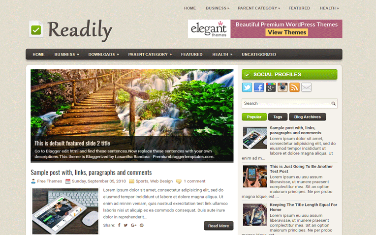 Readily Premium Responsive Clean Blogger Template