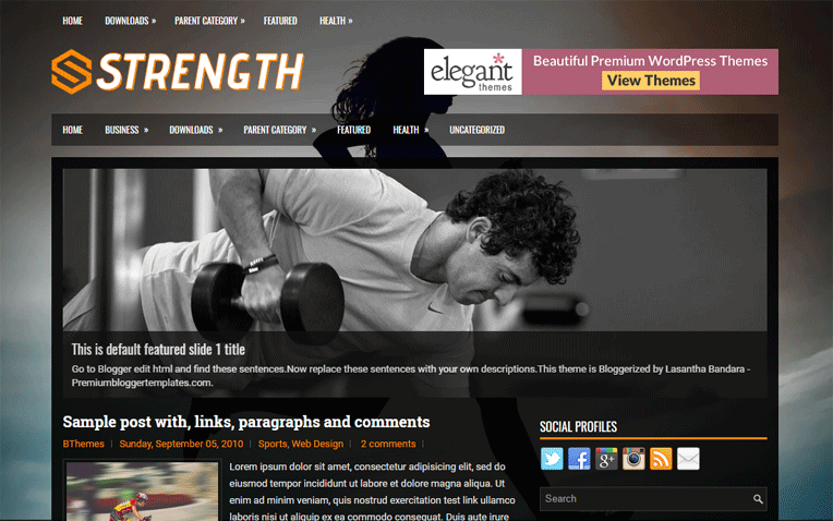 Strength Dark Color Responsive Blogger Template