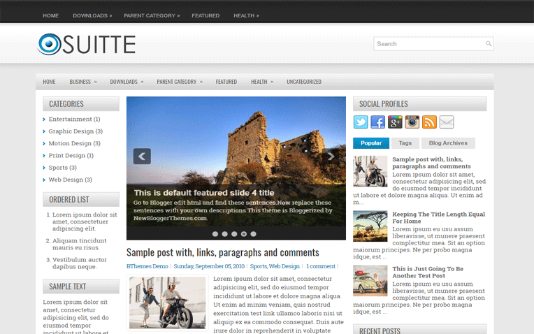 Suitte Clean Magazine Responsive Blogger Template