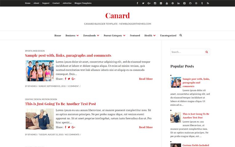Canard Magazine Minimal Simple Blogger Template