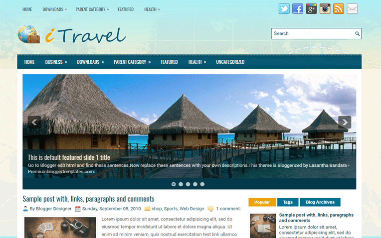 iTravel Amazing Magazine Personal Blogger Template