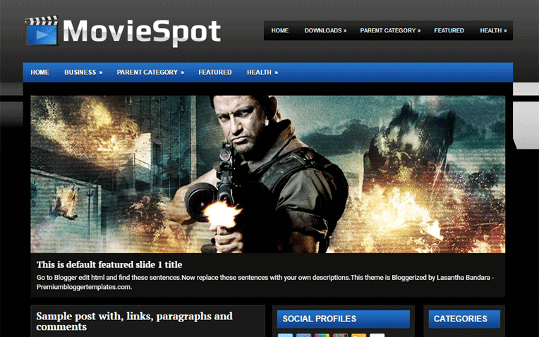 MovieSpot Entertainment Simple Blogger Template