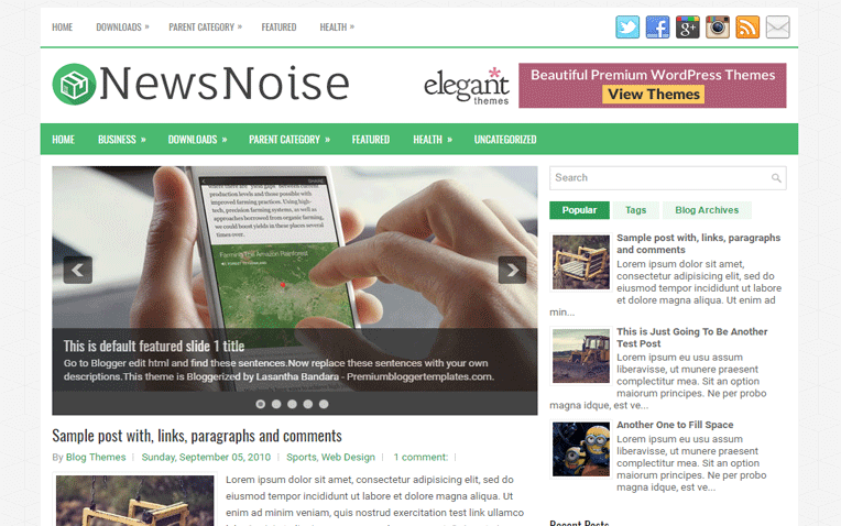 NewsNoise Professional Simple Blogger Template