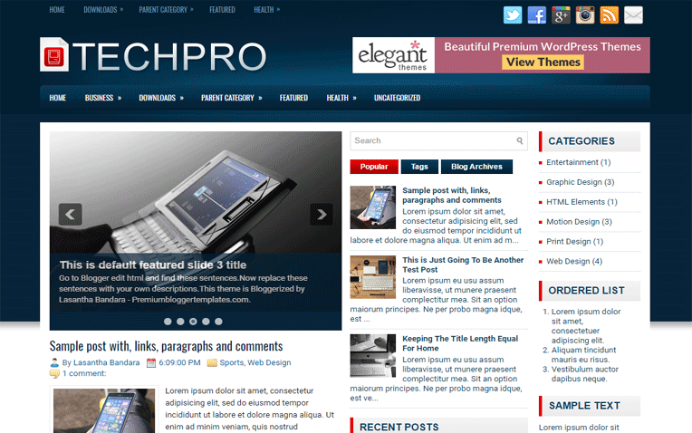 TechPro Premium Elegant Responsive Blogger Template