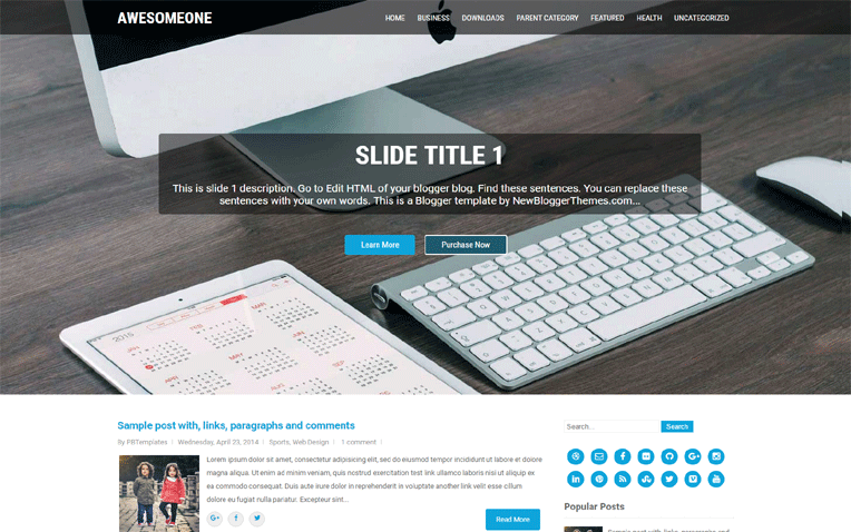 AwesomeOne Business Responsive Blogger Template