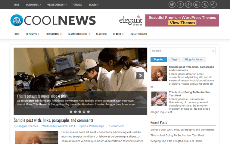 CoolNews Advance Search Engine Blogger Template