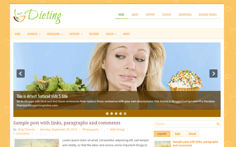 Dieting Health Food Responsive Blogger Template