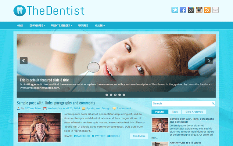 TheDentist Medical Professional Blogger Template