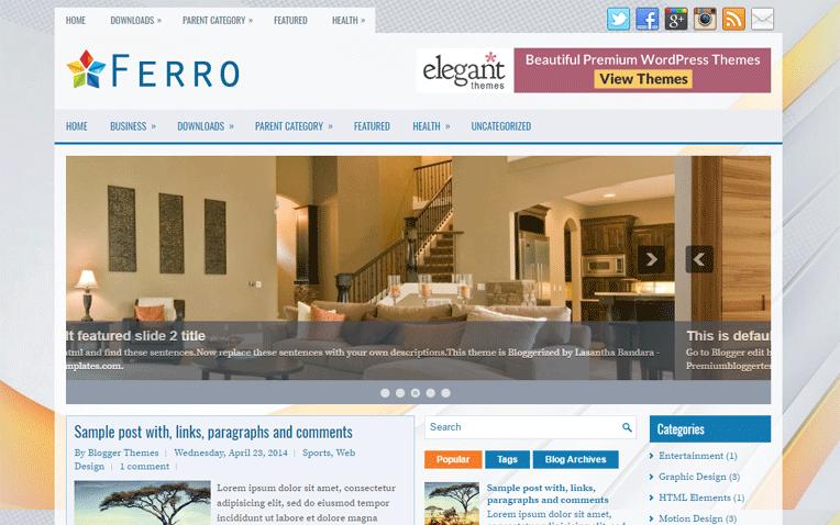 Ferro Premium Magazine Responsive Blogger Template