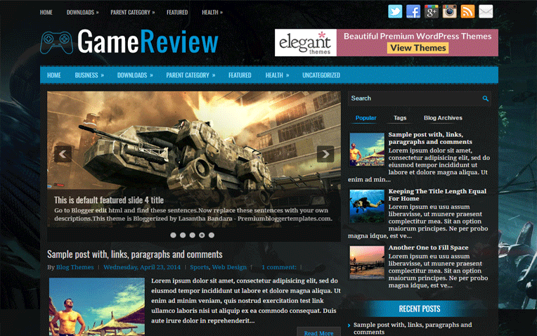 GameReview Entertainment Clean Blogger Template