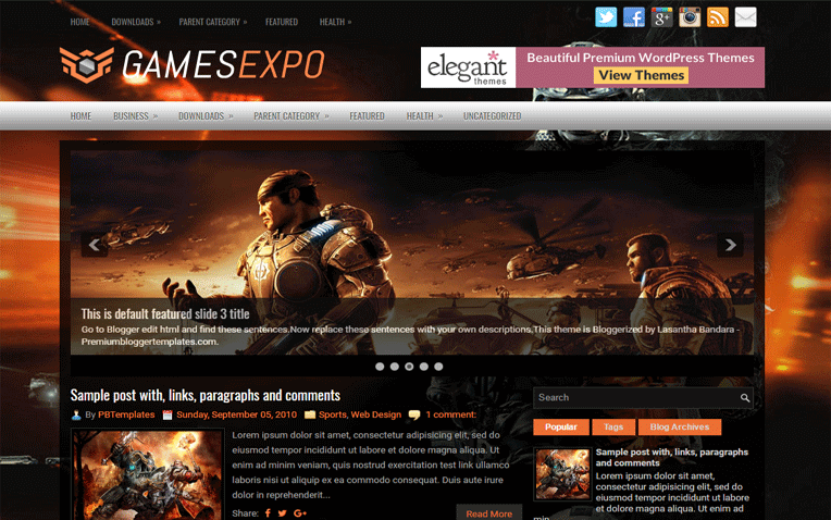 GamesExpo Entertainment Clean Blogger Template