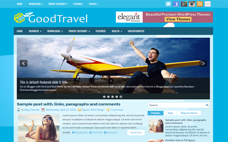 GoodTravel Responsive Magazine Blogger Template