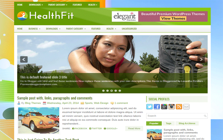 HealthFit Fitness Magazine Clean Blogger Template