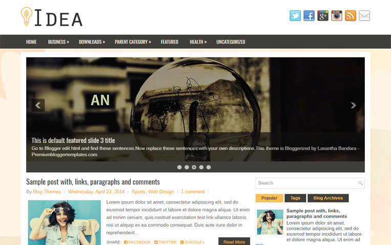 Idea Simple Amazing Responsive Blogger Template