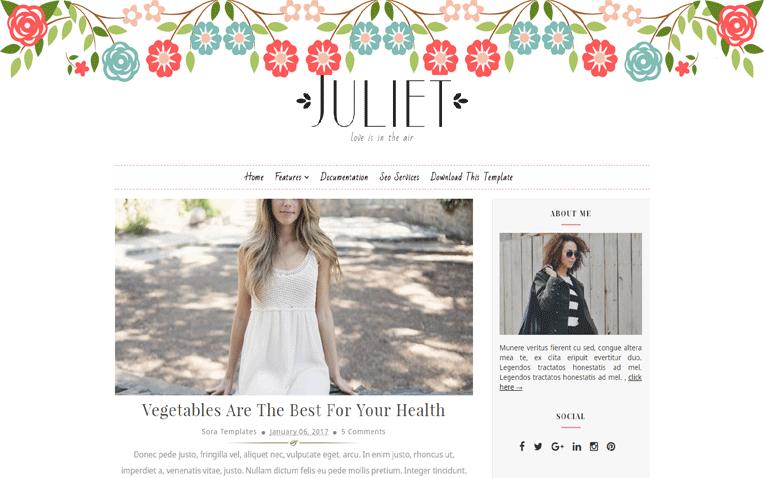 Juliet Responsive Minimal Clean Blogger Template