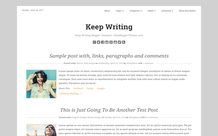free blogger templates for writers - keep writing professional magazine blogger template