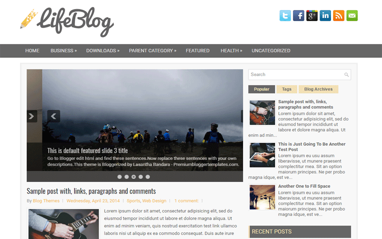 LifeBlog Professional Responsive Blogger Template