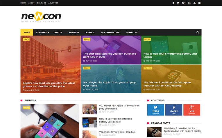 Newcon News Magazine Responsive Blogger Template