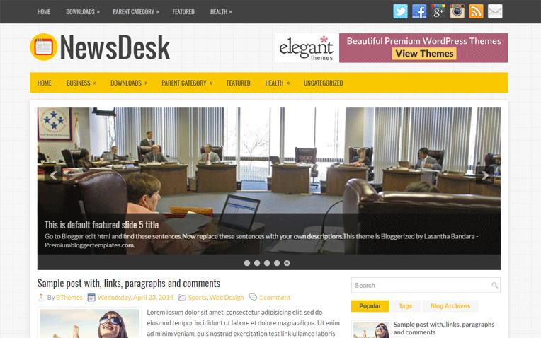 NewsDesk Magazine Responsive Blogger Template