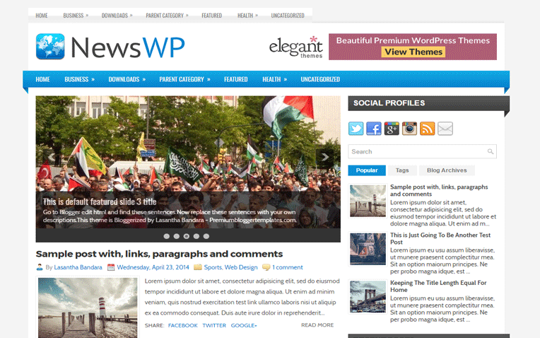 NewsWP Mobile Friendly Responsive Blogger Template