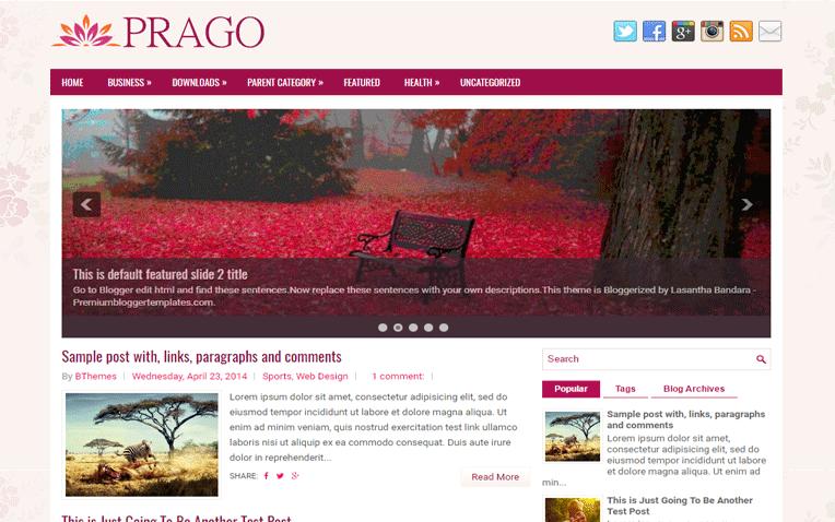 Prago Magazine Clean Responsive Blogger Template